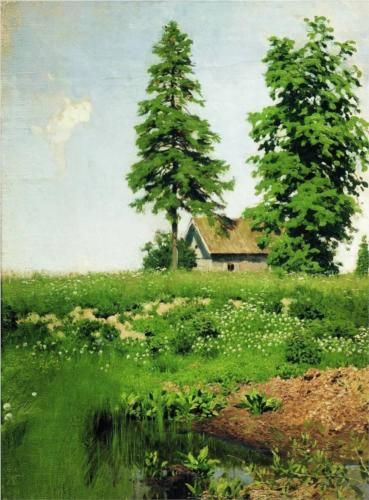 Hut on the meadow - Isaac Levitan