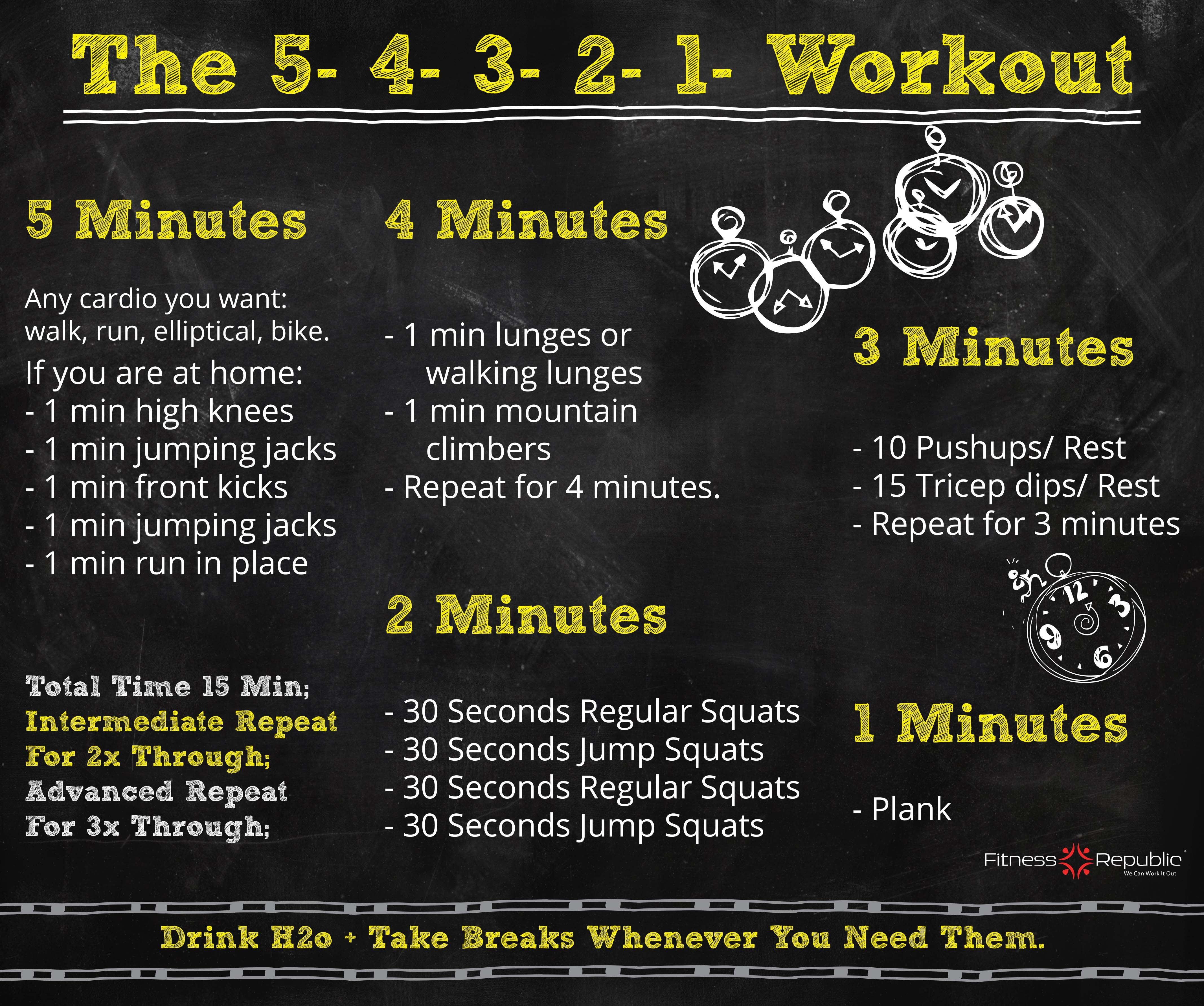 Here you go! Another simple workout routine to squeeze in your day!This workout routine is just fifteen minutes long and is perfect to incorporate in your day. The 5-4-3-2-1 workout targets all the muscles in your legs, torso, core, chest, shoulders, and triceps. Feel free to take as many breaks as you need and make sure you hydrate well.