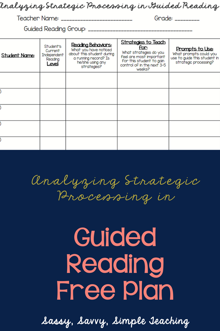 Free Plan For Analyzing Strategic Processing In Guided Reading
