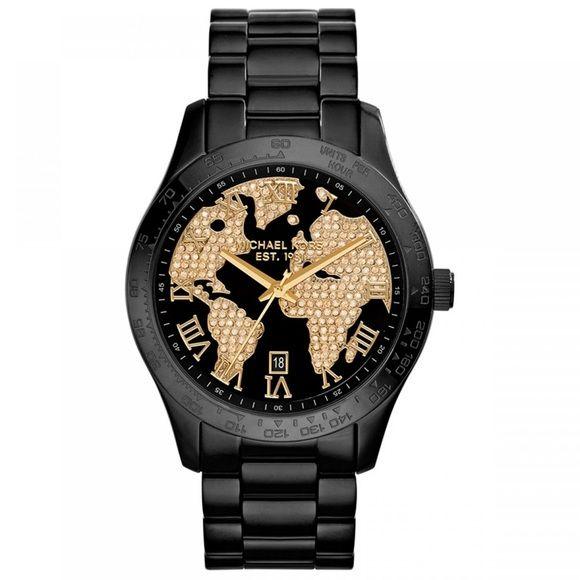 World Map Watch Michael Kors.Michael Kors Oversized World Watch Mk Black Watch With Embellished