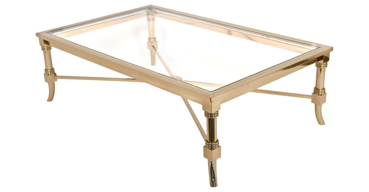 French vintage brass and glass coffee table by Maison Jansen Strong
