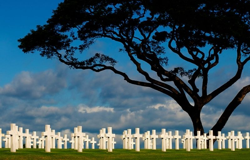 This image was taken at the American Cemetery and Memorial in the Philippines where some 17,000 or more men who serverd during World War II are buried by Lester Garcia
