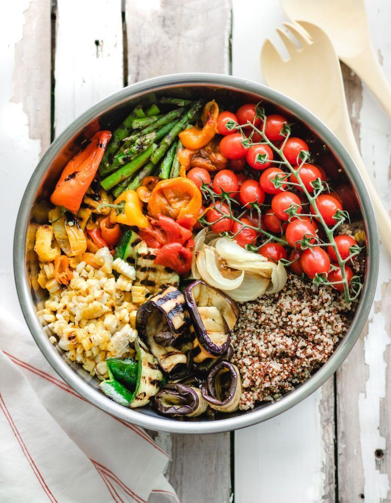 with Grilled Veggies + Zesty Tahini Dressing | Enjoy summer with a salad of delicious grilled veggies, quinoa and a zesty tahini dressing. This vegan salad is bright and tasty + filling and nutritious! | |Salad with Grilled Veggies + Zesty Tahini Dressing | Enjoy summer with a salad of delicious grilled veggie...