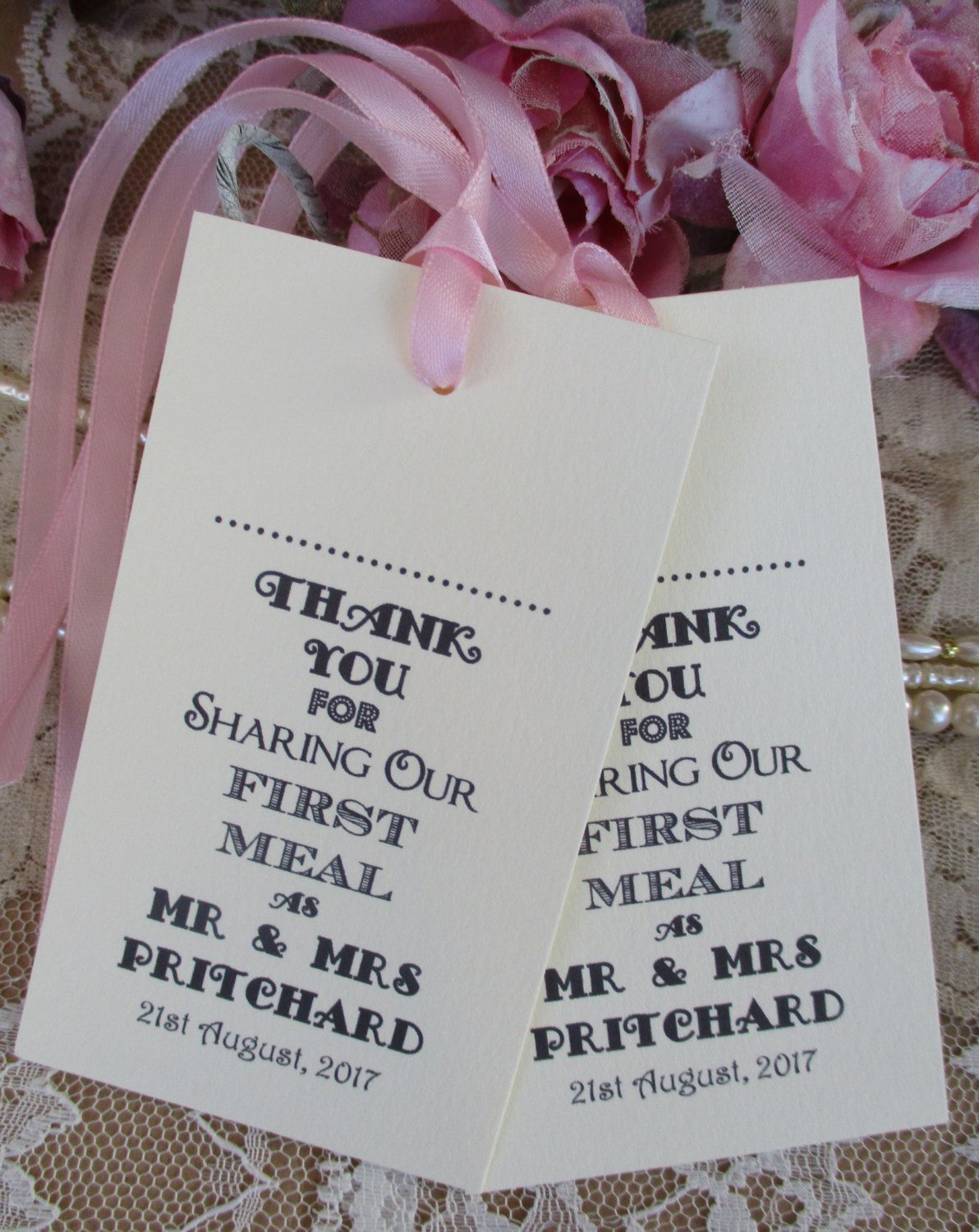 Name Place Tags - Napkin Ties-Wedding Table Decor Personalised Thank ...