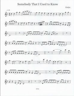 Flute Tenor Sax Sheet Music Somebody That I Used To Know