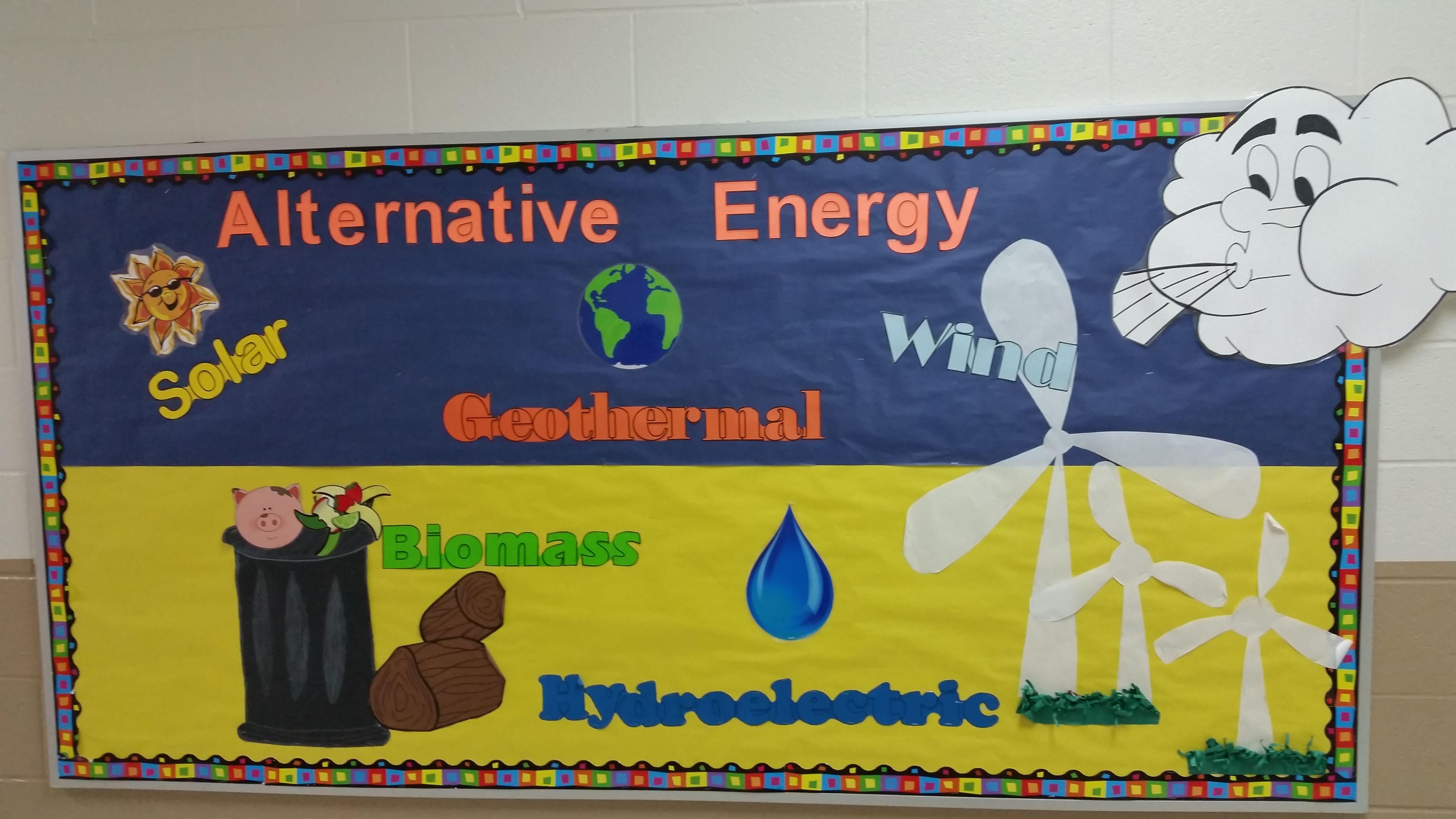 Science Alternative Energy Bulletin Board Science Classroom Decorations Classroom Decorations Benefits Of Recycling