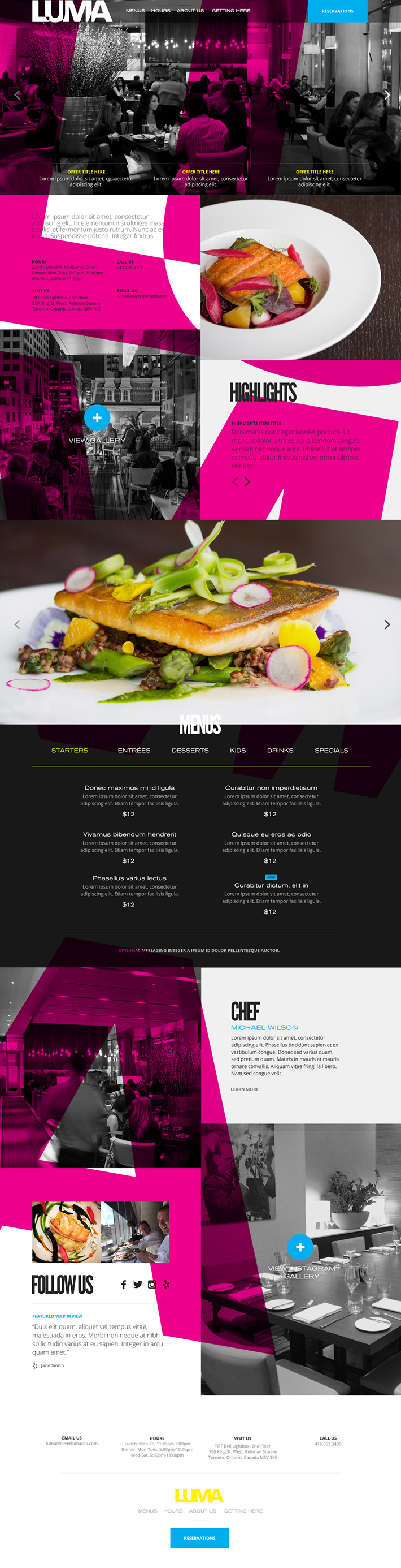 Luma Restaurant Magenta Website Concept by Agency Dominion on Behance