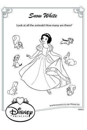 Disney Animals Coloring Book Snow White Colouring For Kids Adults Pinterest