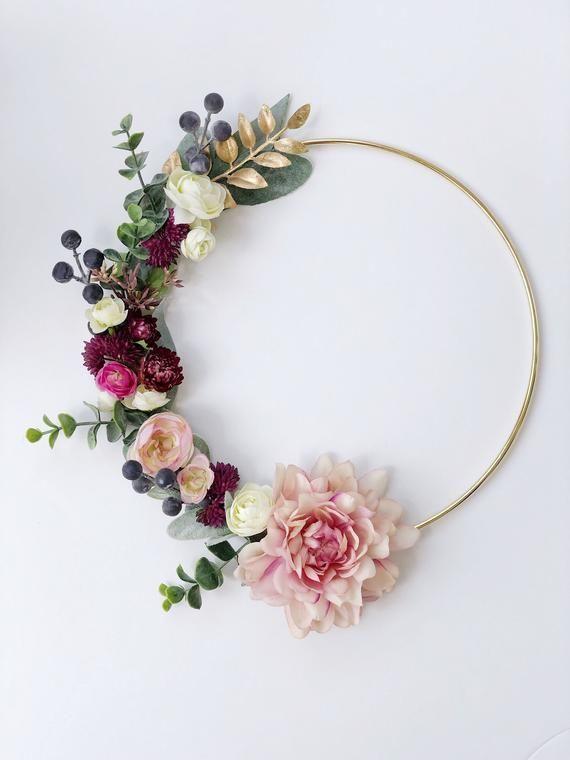 Photo of Floral hoop wreath, Modern Spring wreath, Spring hoop wreath, Blush Nursery decor, Modern Nur…