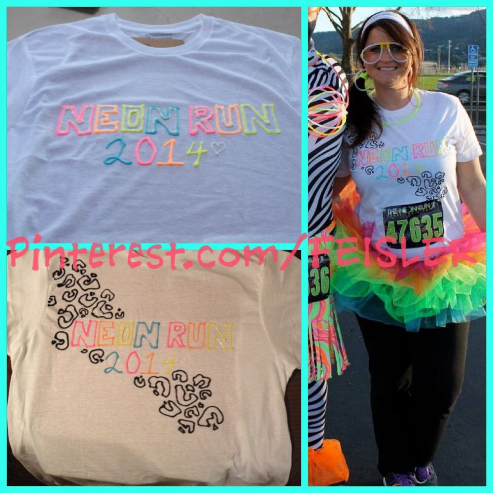Puffy paint designs - My Theneonrun Diy T Shirt Idea 2014 Neon Puff Paint Leopard Fun
