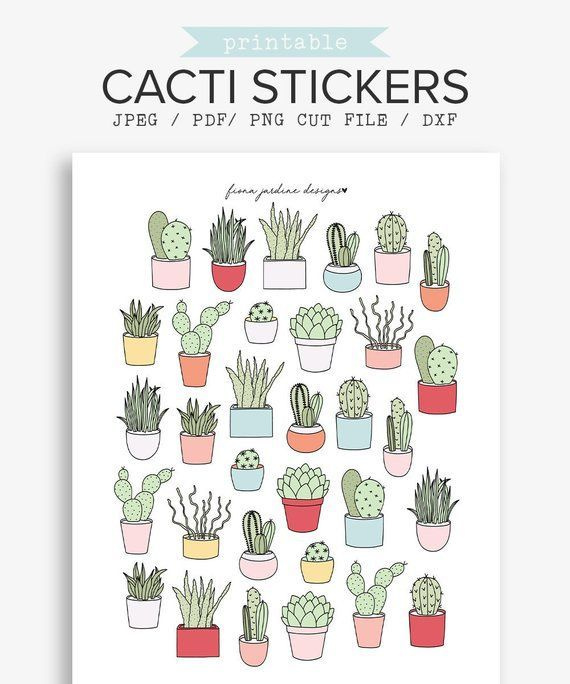 Printable Bullet Journal Cactus Stickers, Plant and Nature Digital Planner Stickers, Decorati...