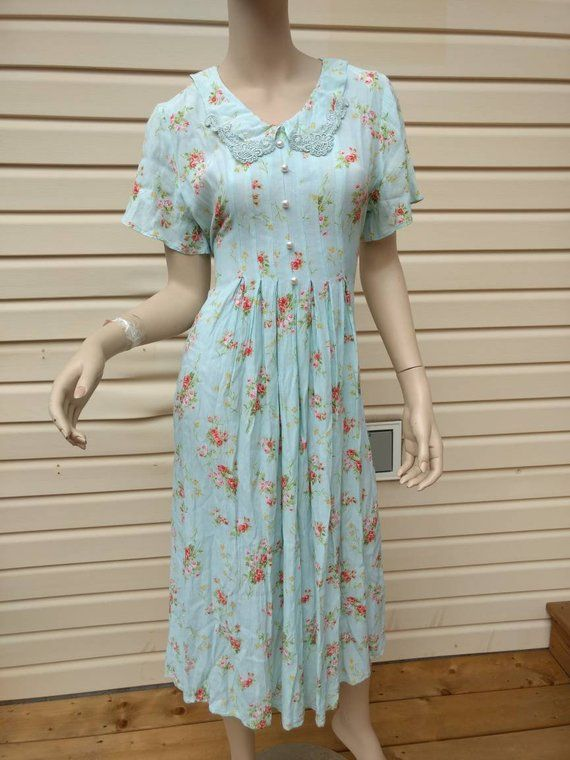 367f89876ab Vintage 1990s Dress Aqua Floral Lace Trimmed Collar Pearly Buttons Sweet  Pastel Pretty Feminine Mode