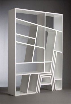 Clever Design For Book Shelf, Chair And Stool To Reach The Top Shelves [or