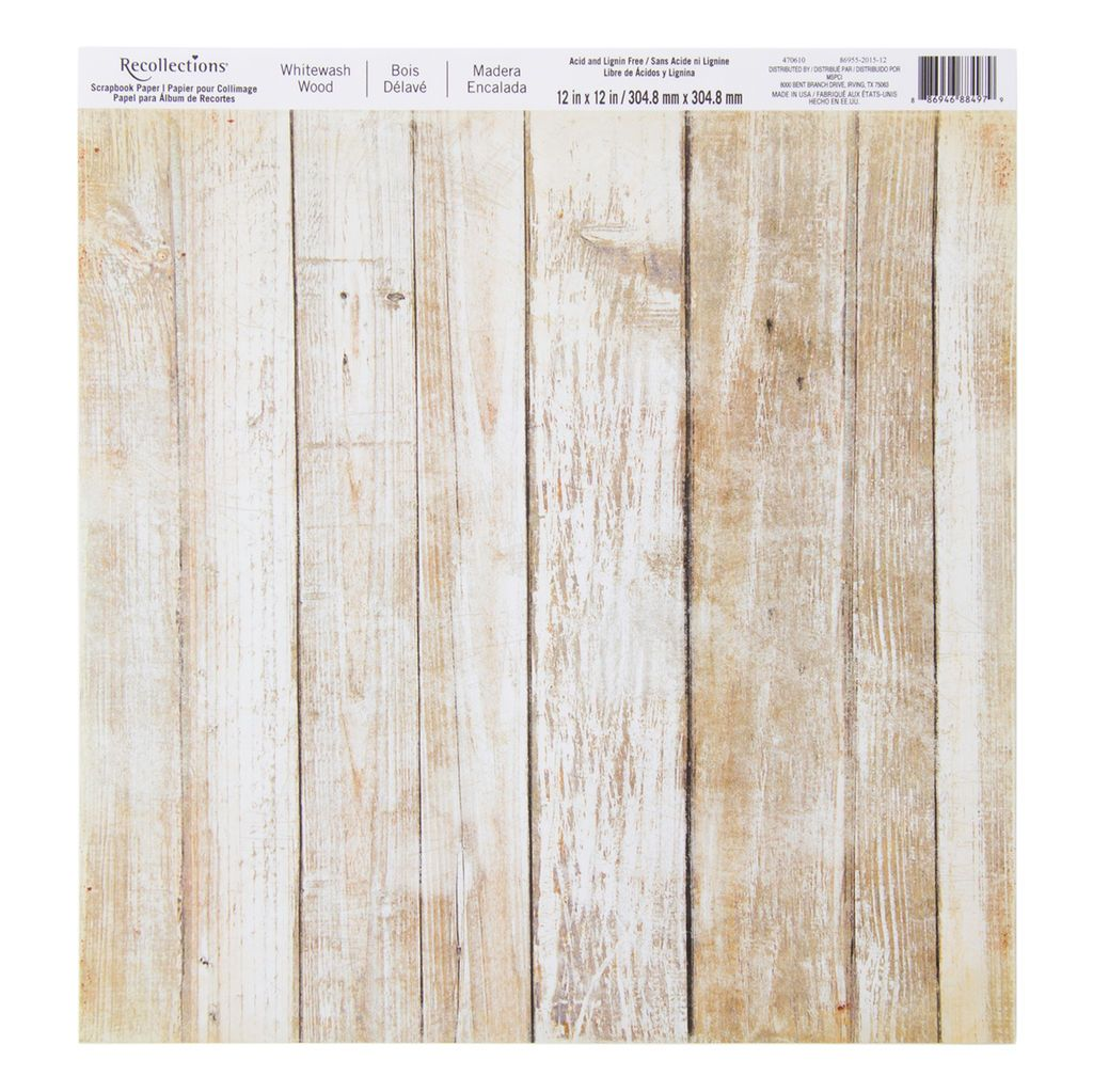 Whitewash Wood Scrapbook Paper By Recollections 12 X 12 Wood Scrapbook Paper Paper Crafts Scrapbook Paper