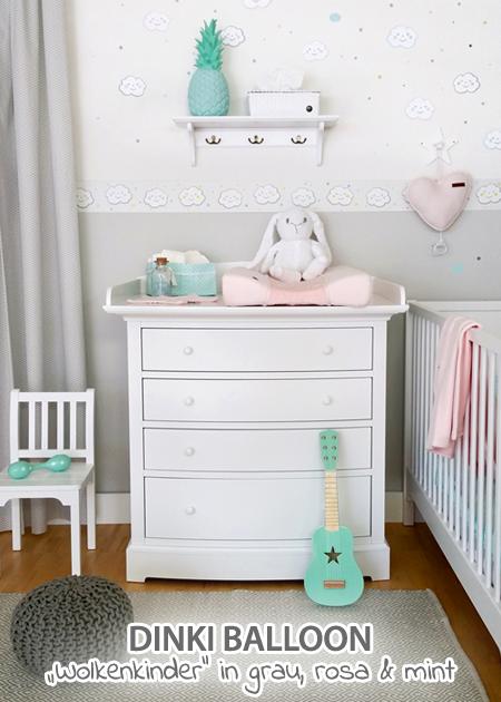 Dinki Balloon Babyzimmer \'Wolkenkinder\' grau/rosa/mint bei ...