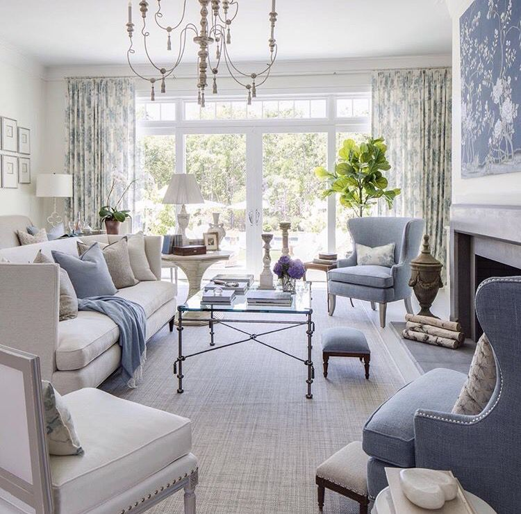 I Turn To Blue Time And Time Again As An Accent Colour But Lately It 39 S The Transitional Living Room Design French Country Living Room Elegant Living Room