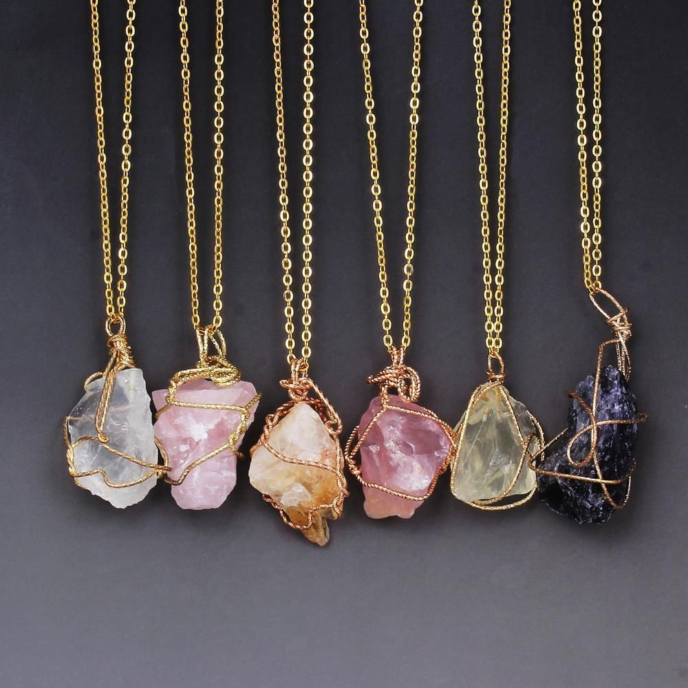 Natural Quartz Necklaces for Healing - 7 Types of Raw Gemstones #quartznecklace