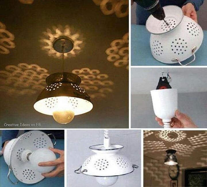 Strainer lamp | Diy chandelier, Colander light, Make a lampshade