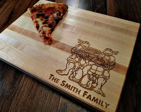 personalized kitchen cutting board family name tmnt ninja turtles