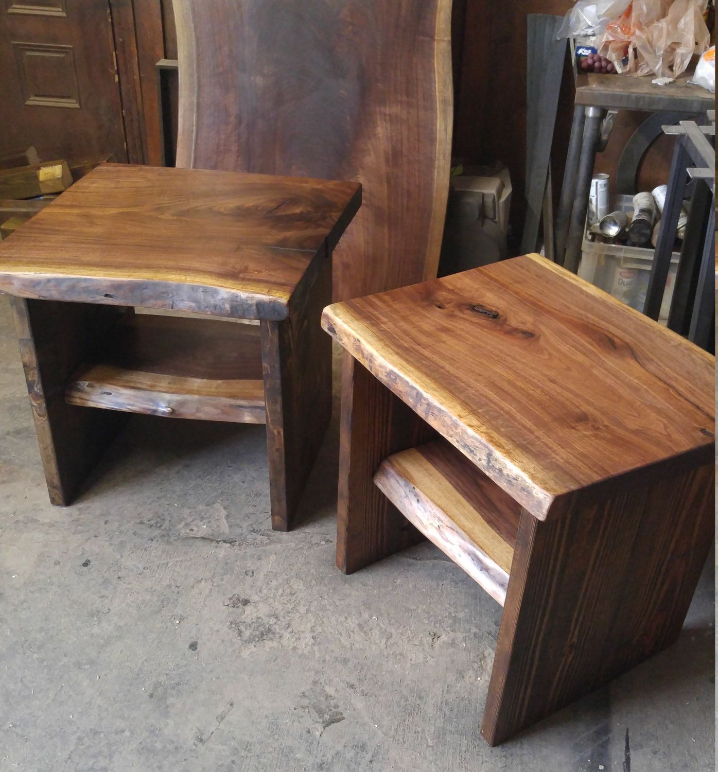 Live edge sideend tables with reclaimed wooden base rustic