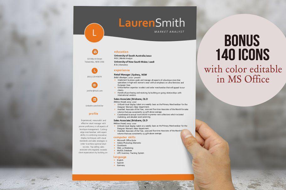Orange curve resume for Word #resume#curve#Orange# ...