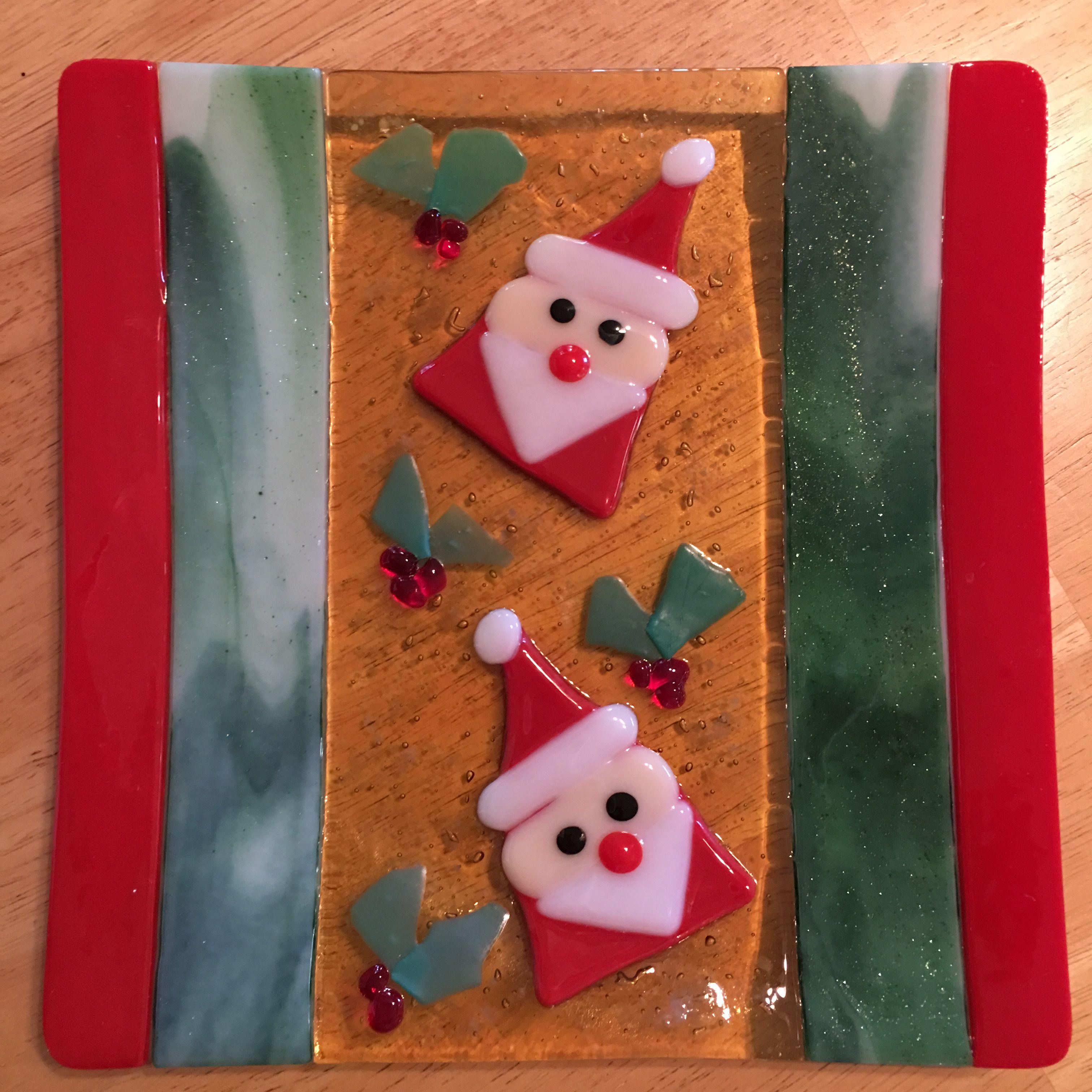"""8"""" square Christmas plate by Kim Natwig. Christmas"""