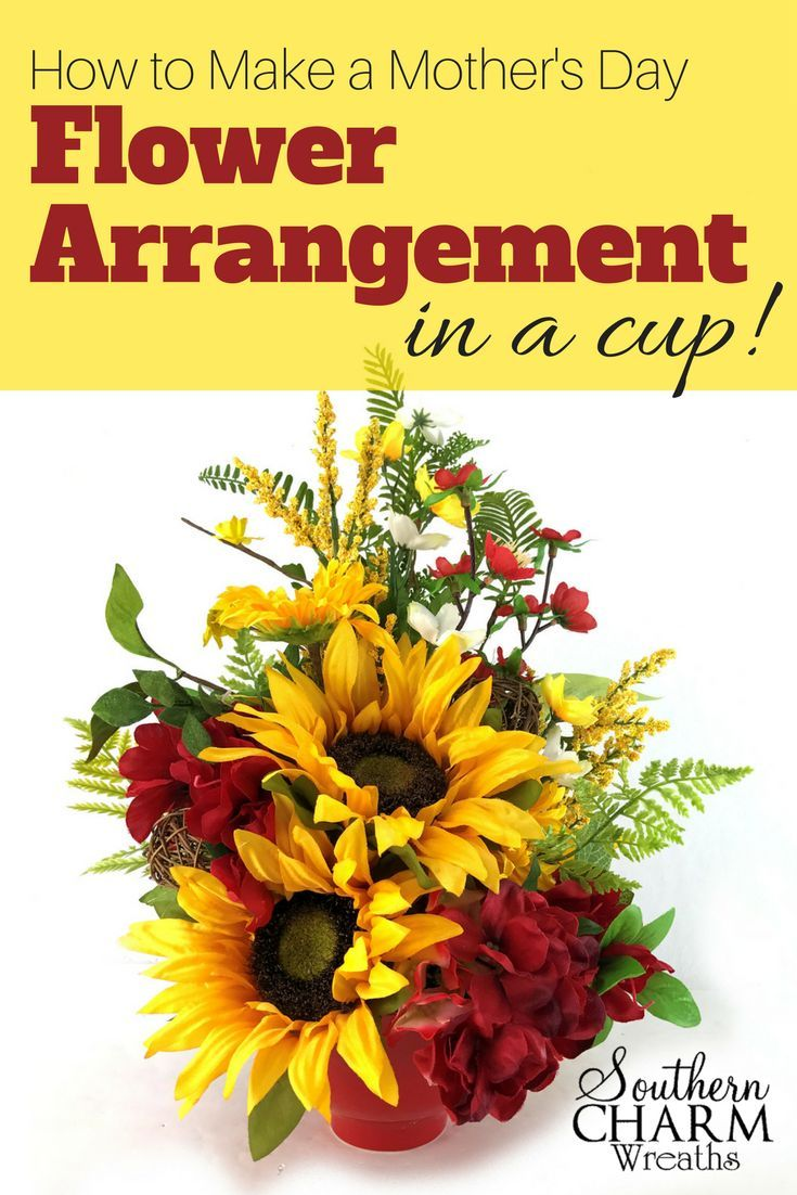 How To Make A Mother S Day Flower Arrangement In A Cup Flower Arrangements Floral Topiaries Christmas Floral Arrangements