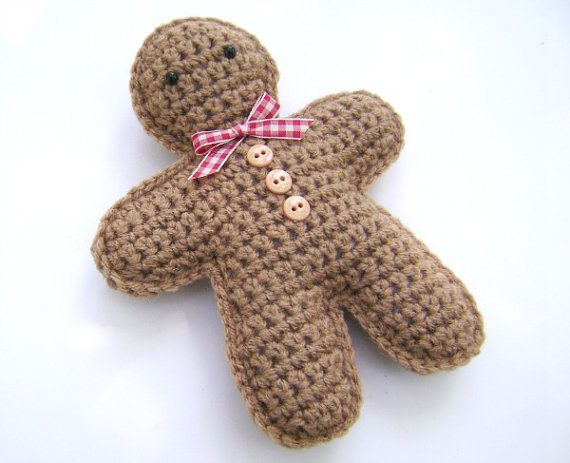 Crochet Gingerbread Man Christmas Holiday Decoration Amigurumi Plush