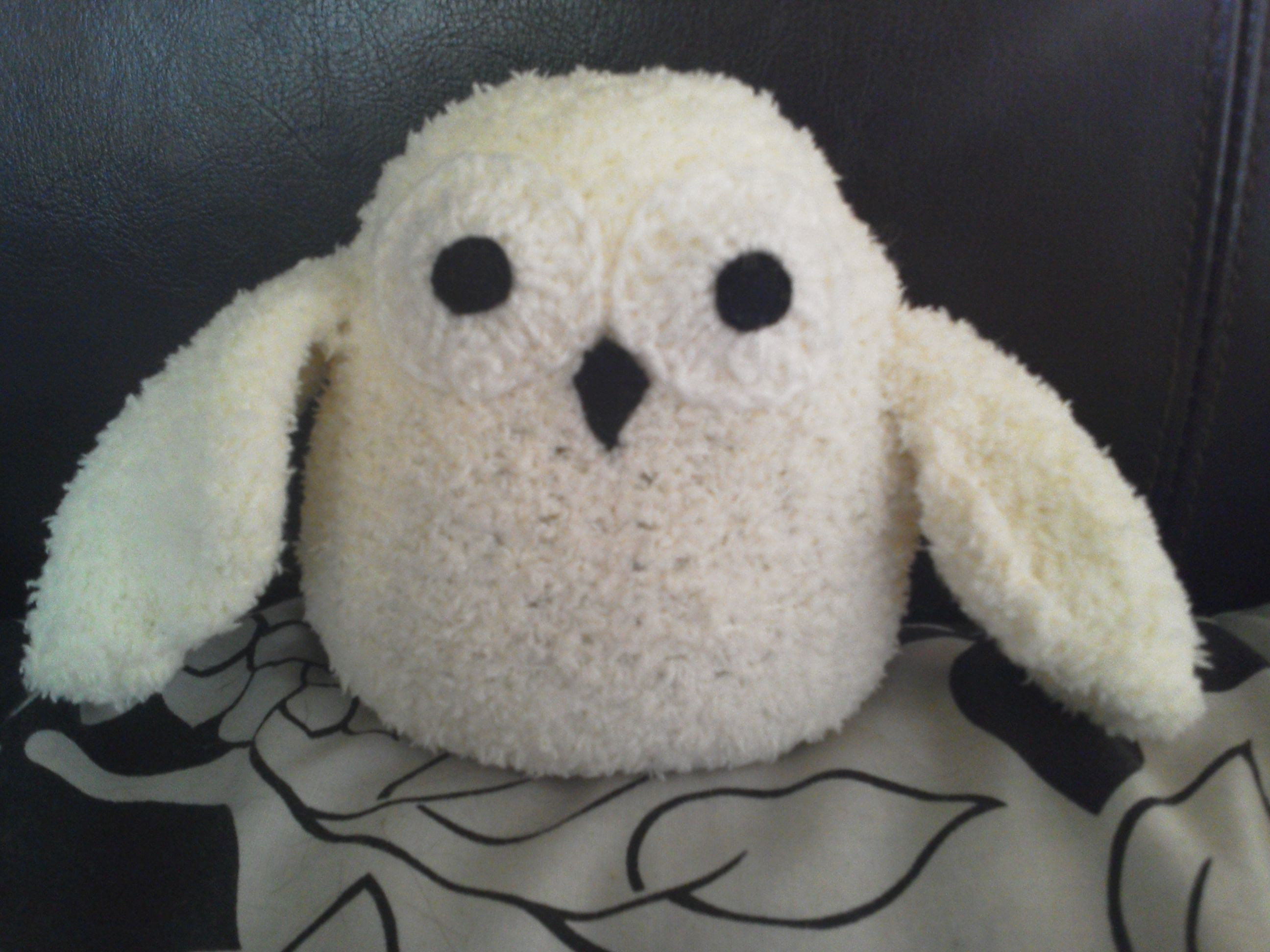 A lil owl named snowy made from super soft cotton mix wool, snowy is on the way to his new home