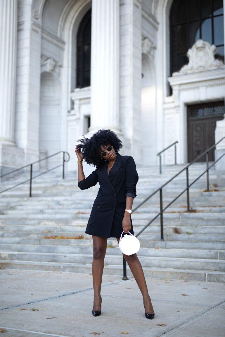 Black Blazer Dress With Black Heels And White Bag Yours Truly Yinka Black Fashion Bloggers Fashion Business Casual Fashion [ 1152 x 768 Pixel ]