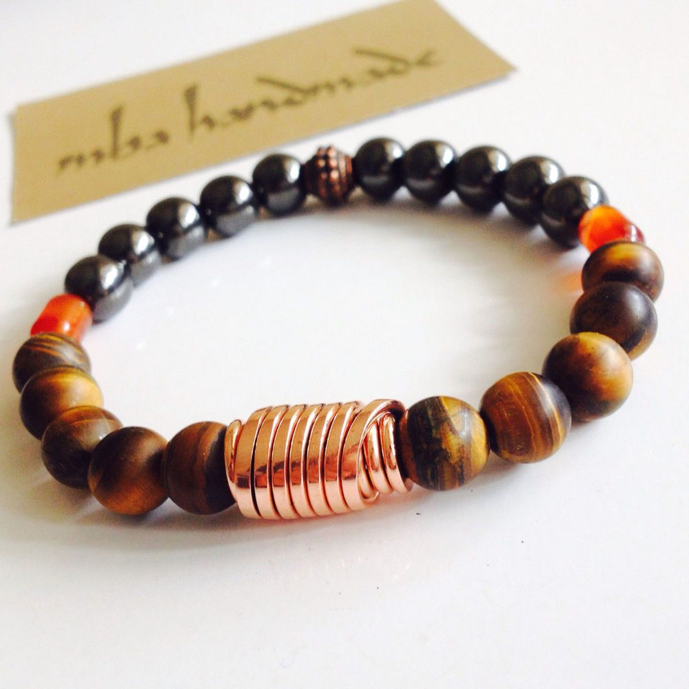 MEN'S MATTE TIGER'S EYE CARNELIAN HEMATITE BEADED GEMSTONE BRACELET PURE COPPER #MBAHandmade #Beaded