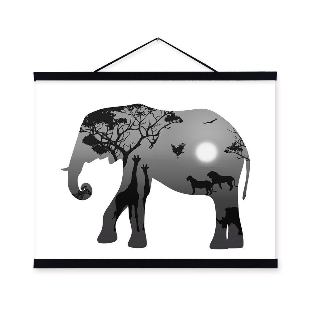 Elephant black white nordic minimalist animal king silhouette framed canvas painting wall art prints picture poster scroll decor