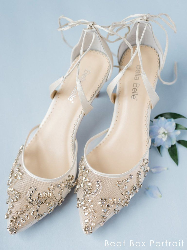 5590df7394f0 comfortable champagne crystal low heel embellished wedding evening shoes  ankle tie