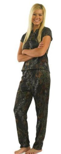 eabede400459e Mossy Oak Pajamas 2PC Set JRS Ladies Silky Camo Henley Shirt + Drawstring  Pant S-