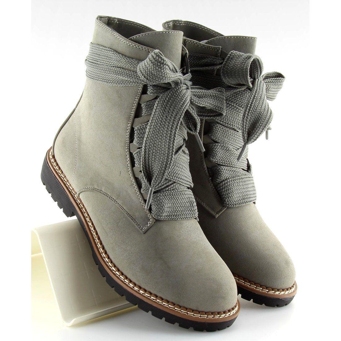 Botki Damskie Obuwiedamskie Botki Sznurowane Szare 8308 Grey Obuwie Damskie Boots Snow Boots Women Winter Boots Women