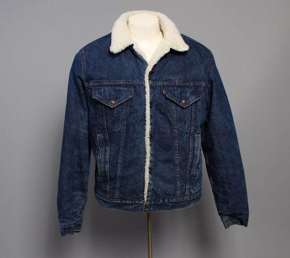 80s levi 39 s jean jacket indigo sherpa lined tough luck. Black Bedroom Furniture Sets. Home Design Ideas