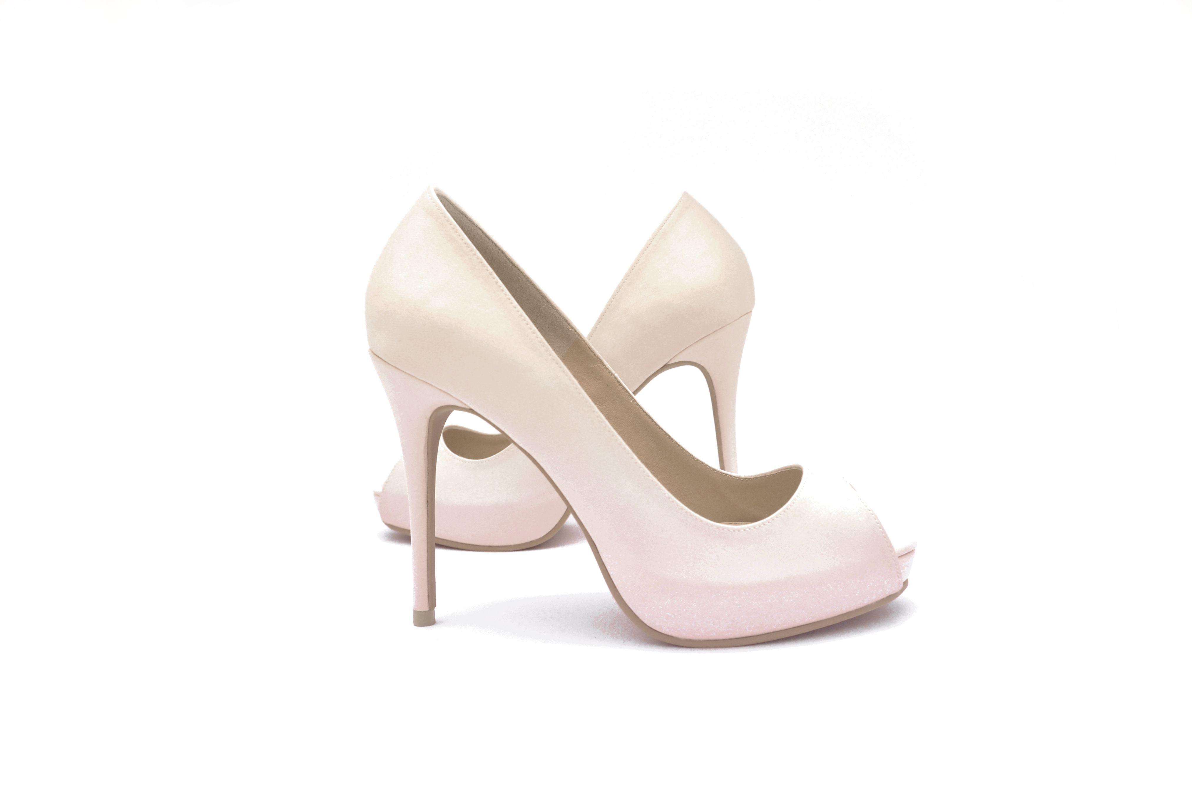 Celest Thoi Bespoke Bridal Heels Plain Low Cut Peek Toes In Blush Pink Side