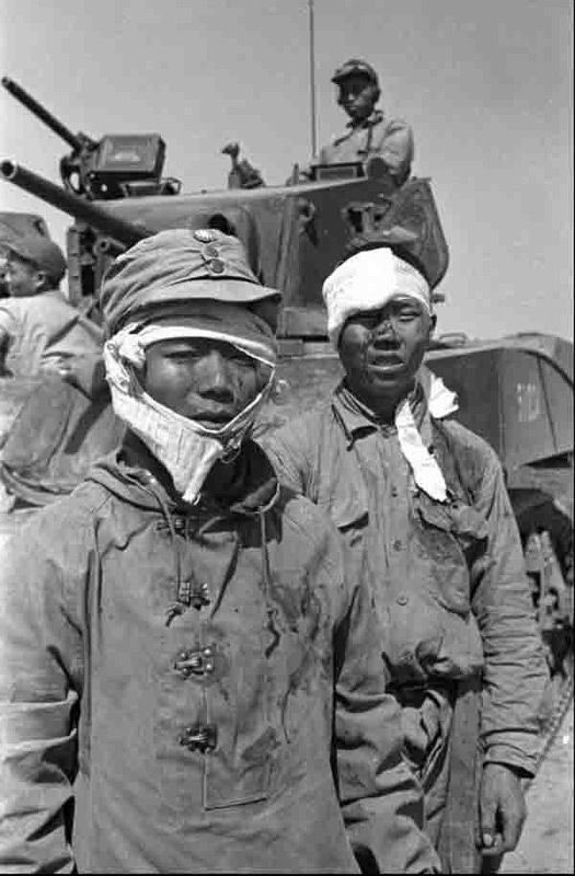 Scene In China Civil War 1949 Wounded Nationalist Soldiers