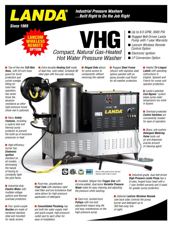 VHG Compact, Natural GasHeated Hot Water Pressure Washer