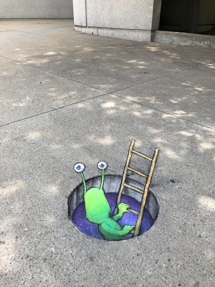 David Zinn 2017 Sluggo Has Snuck Back Into Saginaw Via Ladder And