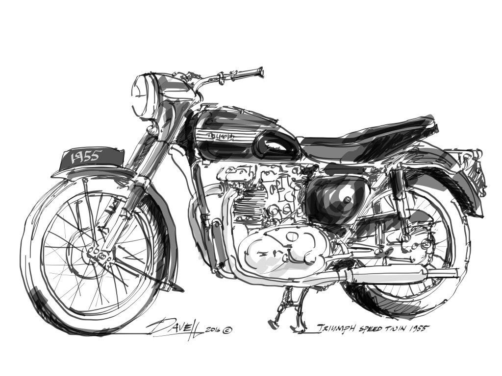 Free hand sketch of 1955 Triumph 500 Speed Twin