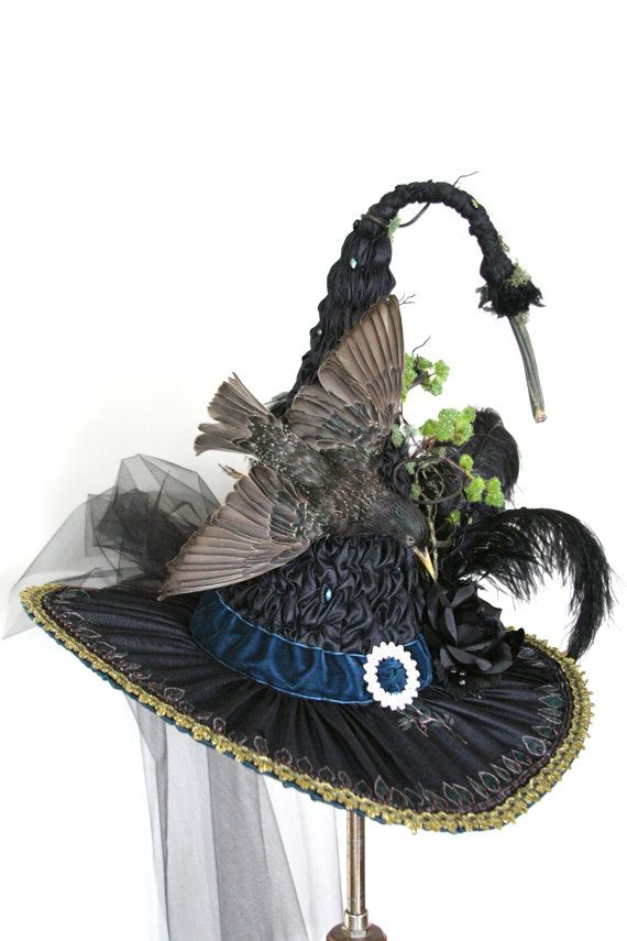 Gorgeous European Starling Victorian Witch Hat by Studio Sisu, Heirloom Witches…
