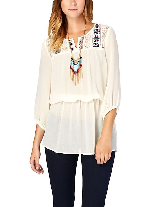 Boho Embroidered Yoke Tunic Top | Tops | rue21
