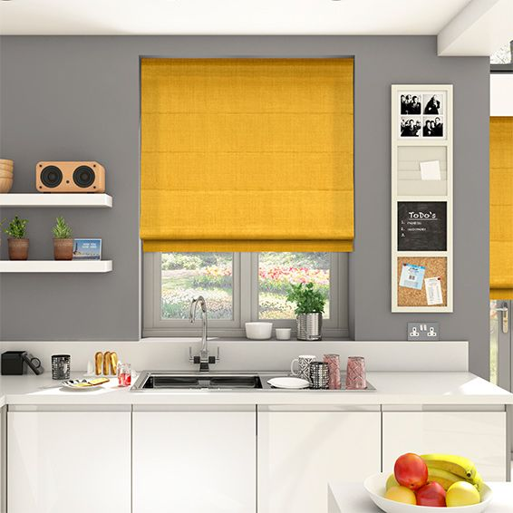 White Kitchen Roller Blinds: Roman Blinds, Mustard And Roman
