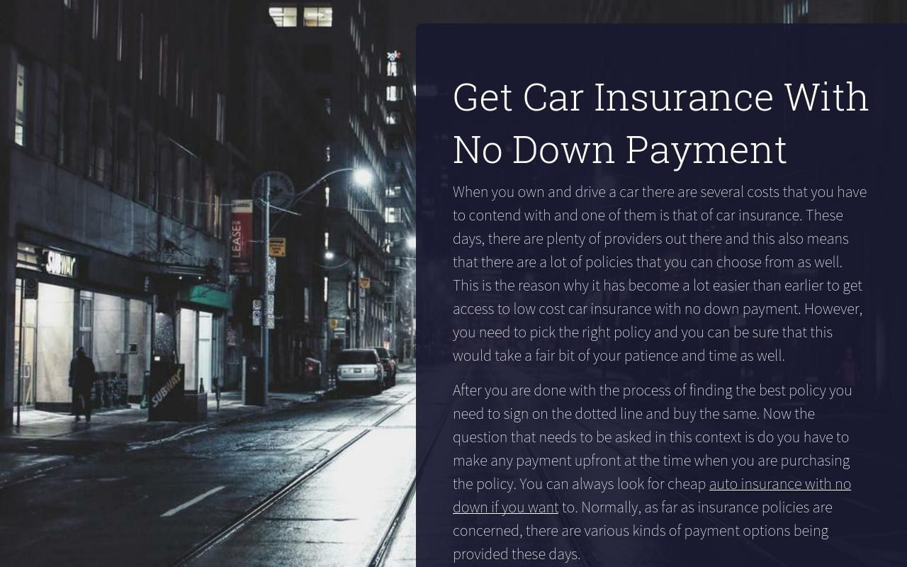 Get car insurance with no down payment car insurance