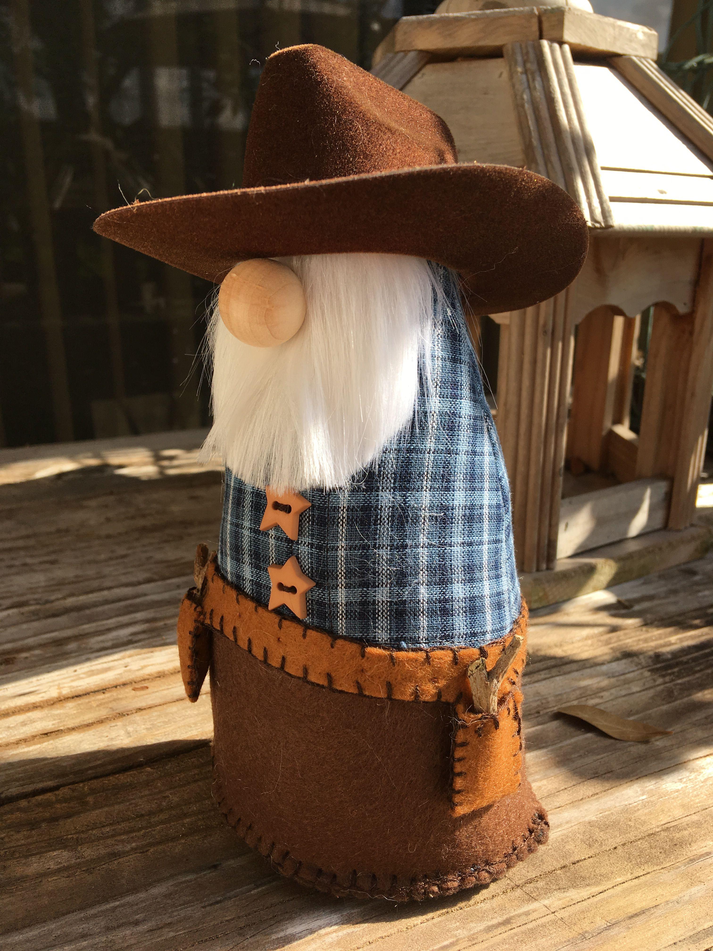 Gnome duke gnomes cowboy hats brown cowboy hat