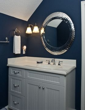 Pin By Ginny Zuckero On Bathroom Ideas Gray Bathroom Decor Blue Bathroom Dark Blue Bathrooms