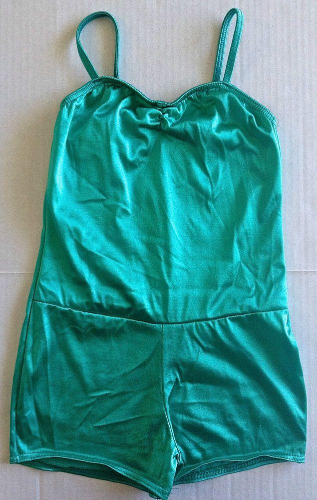 Weissman Shiny Leotard Unitard Biketard Sea Green Gymnastics Dance Girls Size M #Weissman