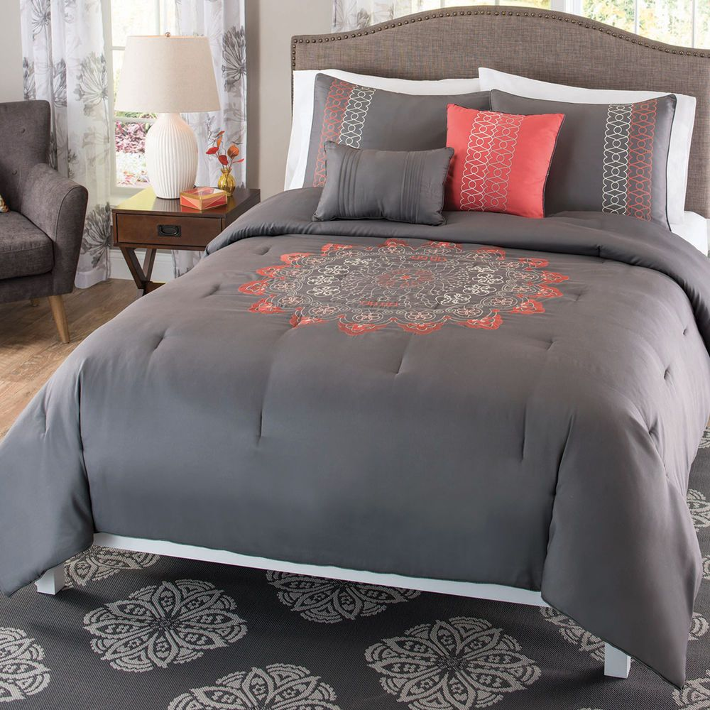 Bedding Comforter 5 Piece Set Gray And Coral Pink Embroidered