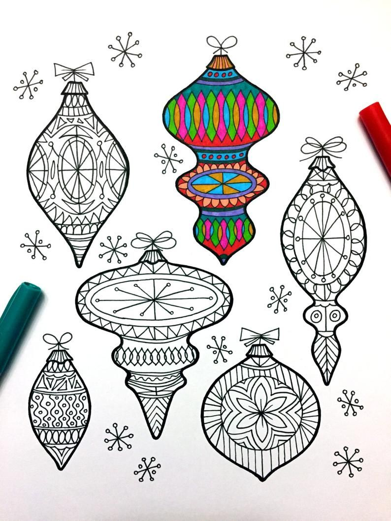 ornaments - pdf zentangle coloring page | coloring pages